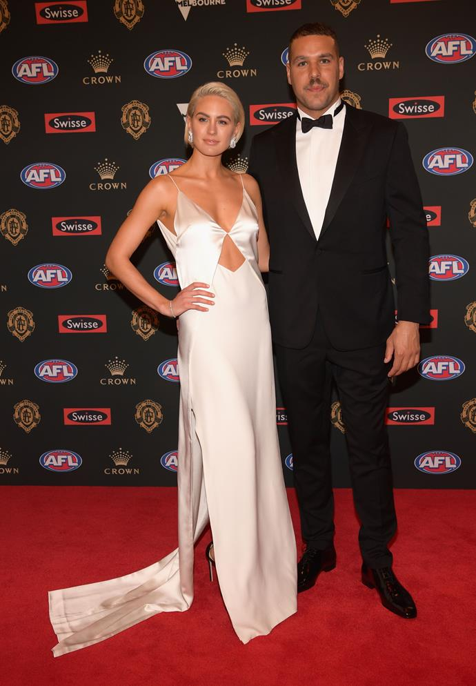 AFL's golden couple Jesinta and Buddy Franklin looked every bit as glam as we'd expect. We're loving Jesinta's chic Dion Lee design.
