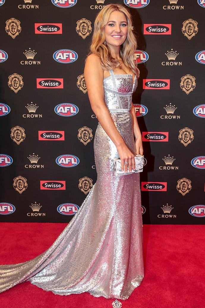 Jessica Todd, partner of the Demons' Max Gawn, was a vision of glamour in Melbourne-based designer Georgia Young Couture.