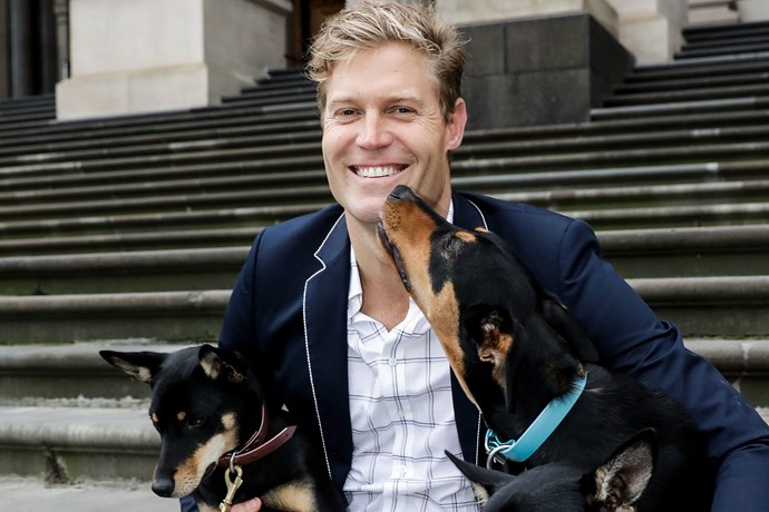 Dr Chris with dogs.