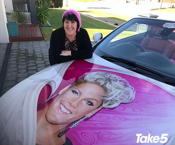 The amazing designs on my air brushed car.
