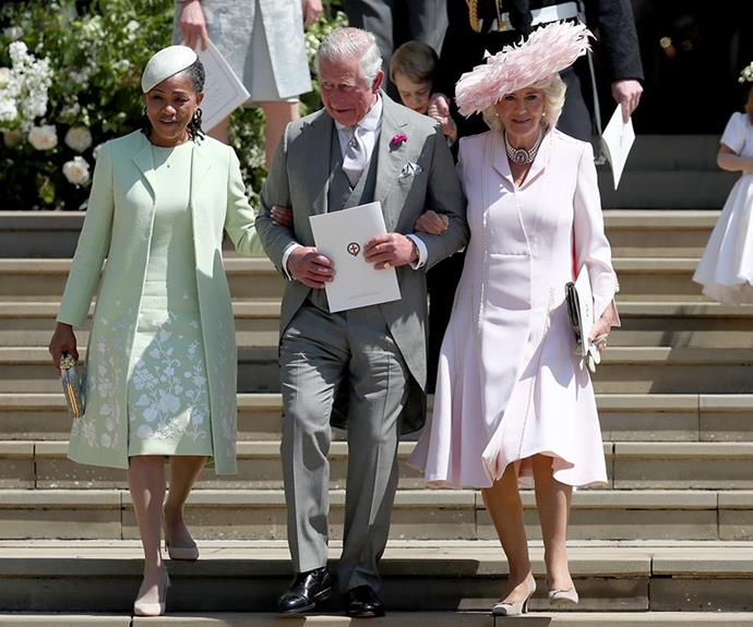 **She gets along well with Prince Charles.** <br><br> At the royal wedding in May, Prince Charles and Doria seemed to get along swimmingly, with the future King chatting away to the bride's mother after the ceremony. Charles also led Doria and his wife Camilla down the stairs outside the chapel, linking arms with both ladies.