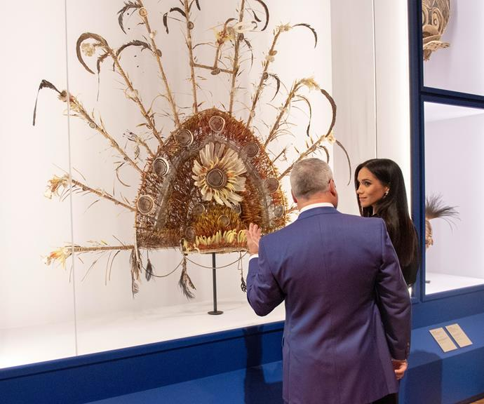 The Duchess of Sussex attended the opening of the Oceania Exhibition at the Royal Academy of Arts.