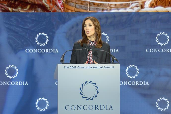 Crown Princess Mary was in attendance at the 2018 Concordia Annual Summit in New York City.