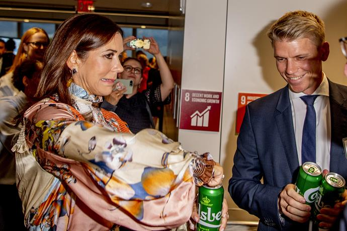 Princess Mary cracked into a beer during UN Week in New York City.