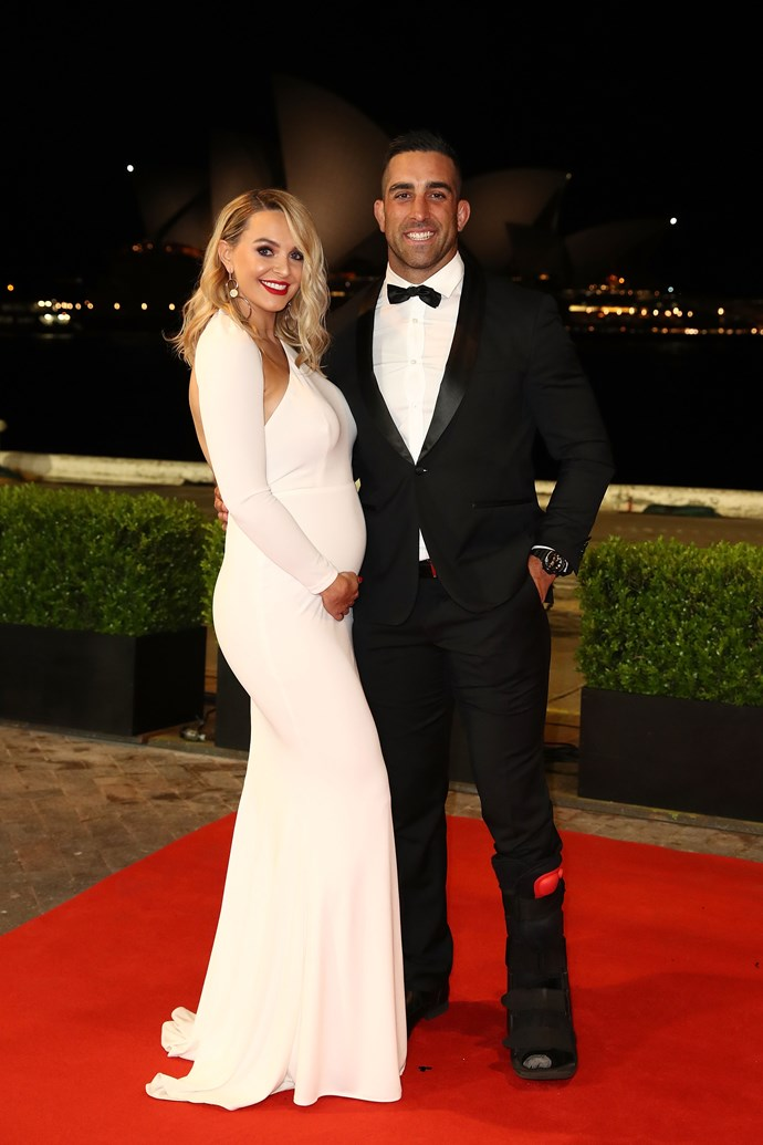 Elle Vaughan dressed her adorable bump to perfection, and Paul looks proud as punch.