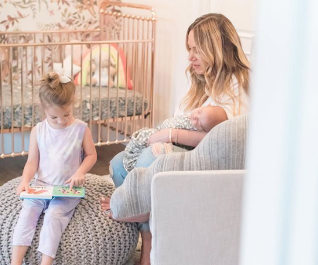 """Hilary's sister, Haylie also celebrated the day. Sharing an image of herself alongside daughters, three-year-old daughter, Ryan Ava and three-month-old Lulu Gray. She wrote, """"Somehow I was given TWO of these magical creatures. My girls. Thank you for picking me."""""""