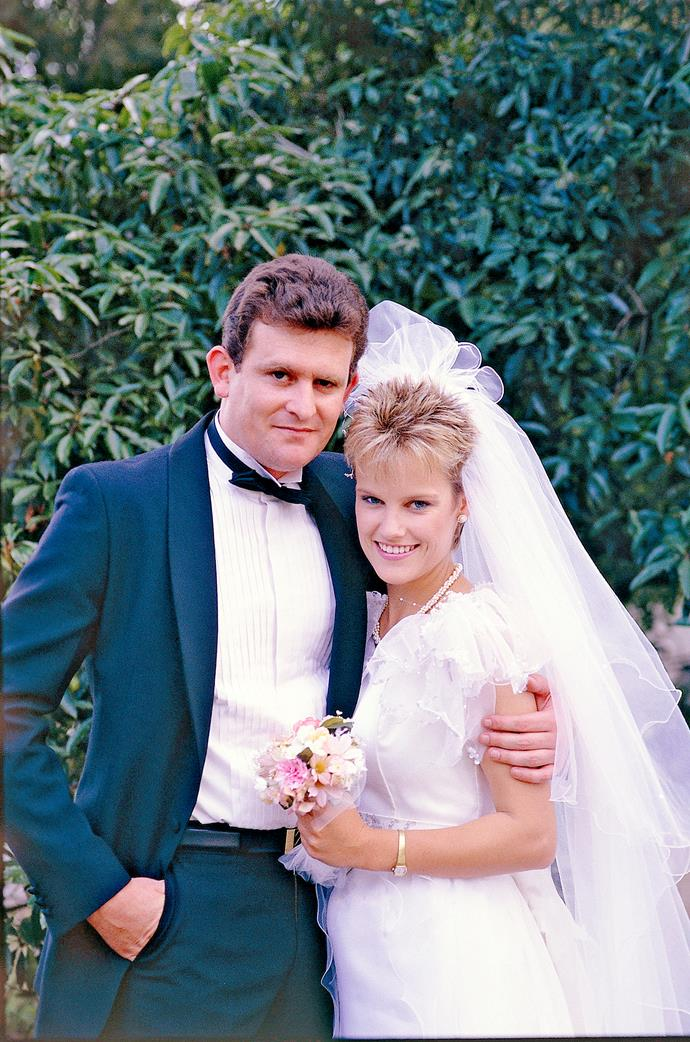 """**DES & DAPHNE (1986-1988)**  **These laid-back lovers were early fan favourites.**  Daphne Lawrence (Elaine Smith) was the """"stripper with a heart of gold"""" hired to perform at Des Clarke's (Paul Keane, both above) stag party. A misunderstanding led to his wedding being called off, paving the way for Des to fall for Daphne. The two married and had a son, Jamie – Ramsay Street's first baby. However, Daphne later died after a car accident – but not before she uttered the heartbreaking words """"I love you, Clarkey."""""""