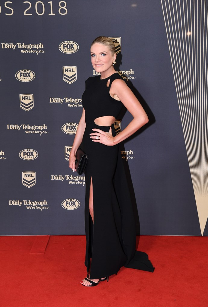 She gave birth just months ago, but you'd never know it! Erin Molan looks stunning in this black get-up.