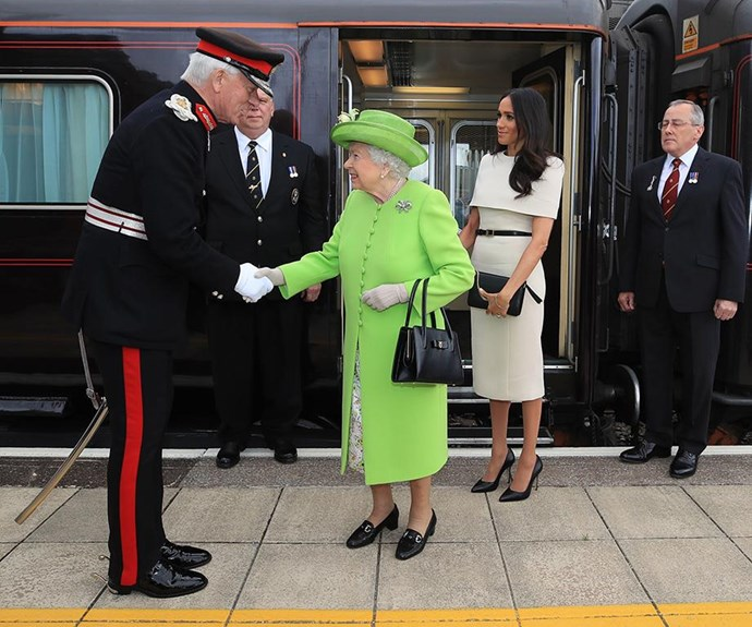 Queen Elizabeth and Meghan also caught a private train to an event in Cheshire together in June.
