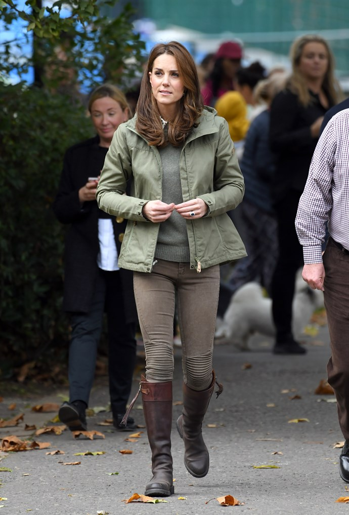 Her trusty favourites! The mum-of-three stepped out in her beloved Penelope Chilvers knee-high brown boots, which she's had for over a decade.