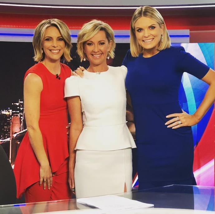 With Belinda Russell and Deborah Knight at the Nine News desk.