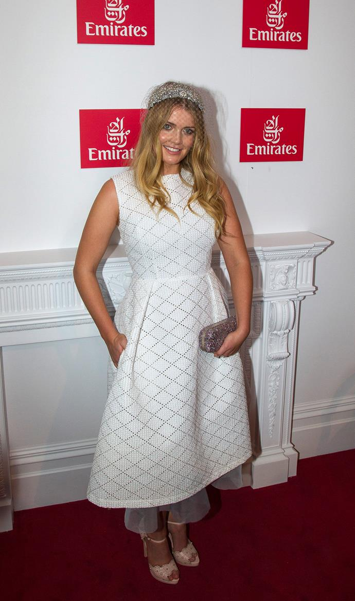 Lady Kitty made a strong impression in a white Alex Perry dress at the Melbourne Cup in 2015.