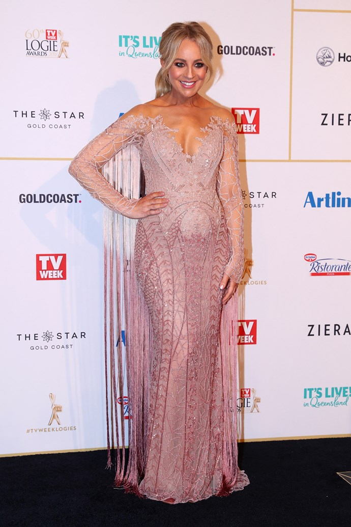 """**Have bobby pins at the ready** <br><br> Carrie has attended a number of Logie awards in her time, and her [ultimate never-fail hair tip](https://www.nowtolove.com.au/celebrity/tv/carrie-bickmore-shares-her-beauty-tips-36257
