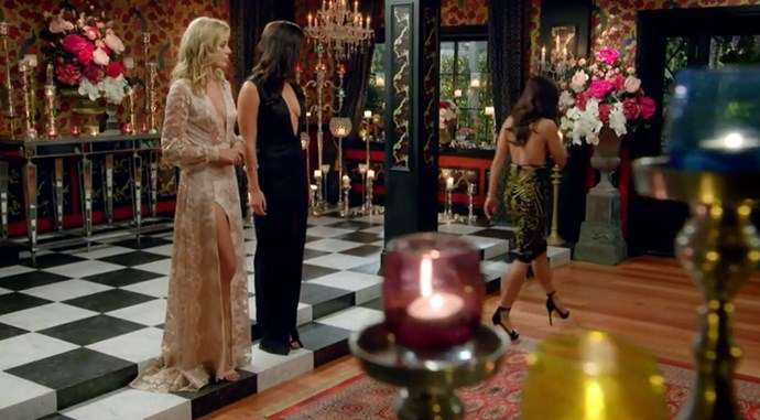 Brooke Blurton walks out of the Bachelor mansion.