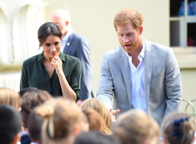 The royal couple had a humorous moment with a besotted teacher looking after some year six students.