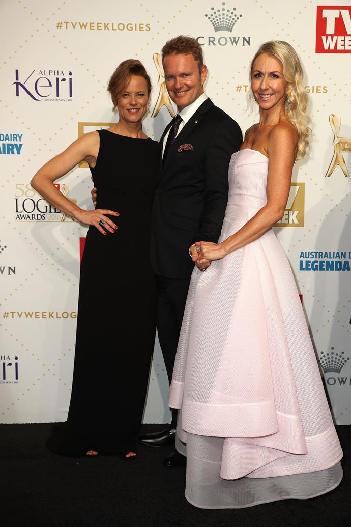 Nadine Garner with Craig McLachlan and his partner Vanessa Scammell at the *2016 TV Week Logie Awards*. Source: Getty Images