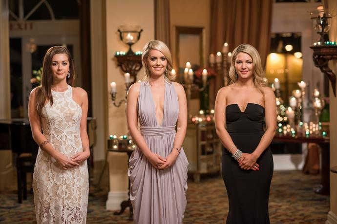 2014: Sam Frost wears a black gown, with Lisa and Louise wearing lighter coloured gowns.