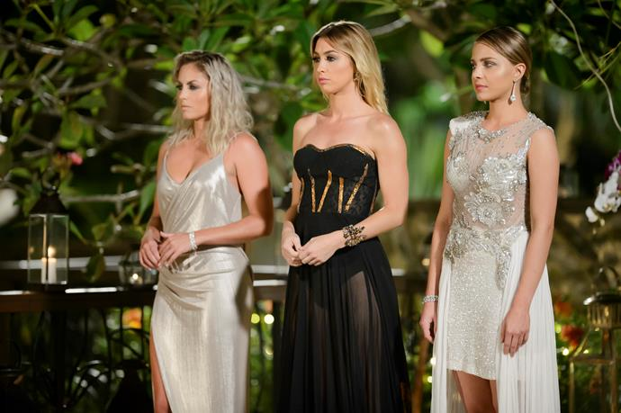 2016: Alex Nations looks stunning in a black gown, with runners-up Nikki and Olena wearing silver and white shades.