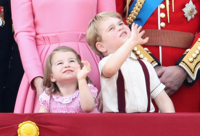 Princess Charlotte and Prince George never fail to charm onlookers with their enthusiastic waves.