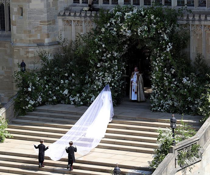 It was the moment the world had been waiting for: The wedding of Meghan Markle and Prince Harry. As the bride climbed the stairs of St George's Chapel, Windsor, her stunning Givenchy gown and veil took our breath away.