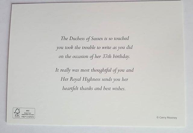 Birthday well-wishers received a personalised card from Duchess Meghan. *Image: Instagram/ @loopycrown3*
