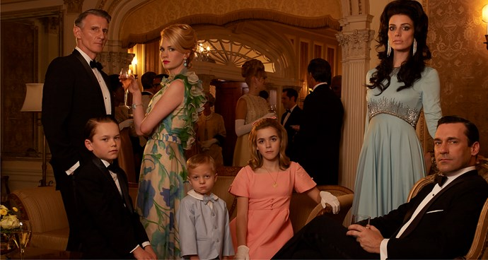 Kiernan (centre) could not have had a better acting debut than on hit series Mad Men.