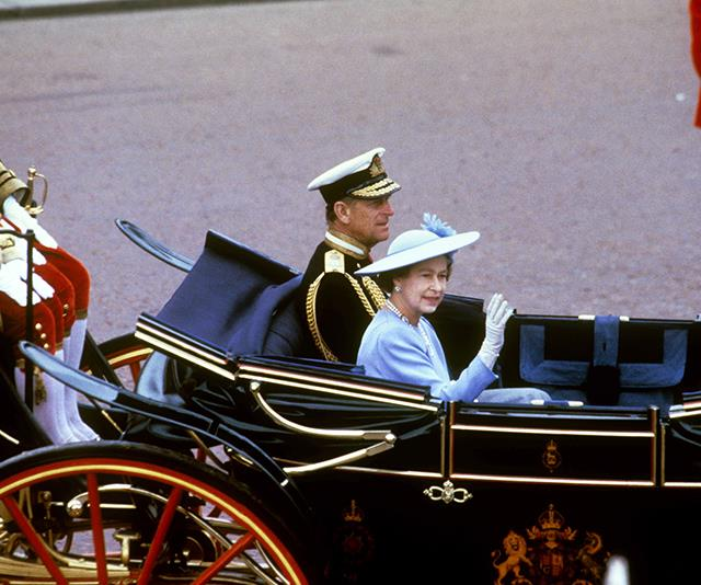 Queen Elizabeth II and Prince Philip waved to crowds as they arrived to watch their son, Prince Andrew, take his vows.