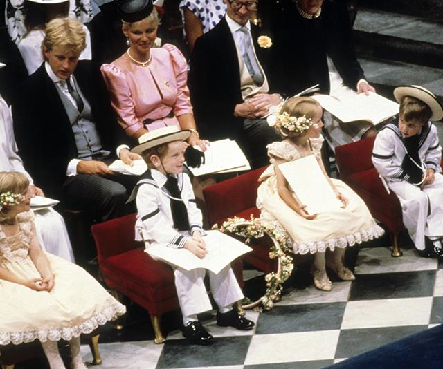 Sarah's bridal party included young Prince William (far right) and Zara and Peter Phillips, as well as some of Fergie's relations.