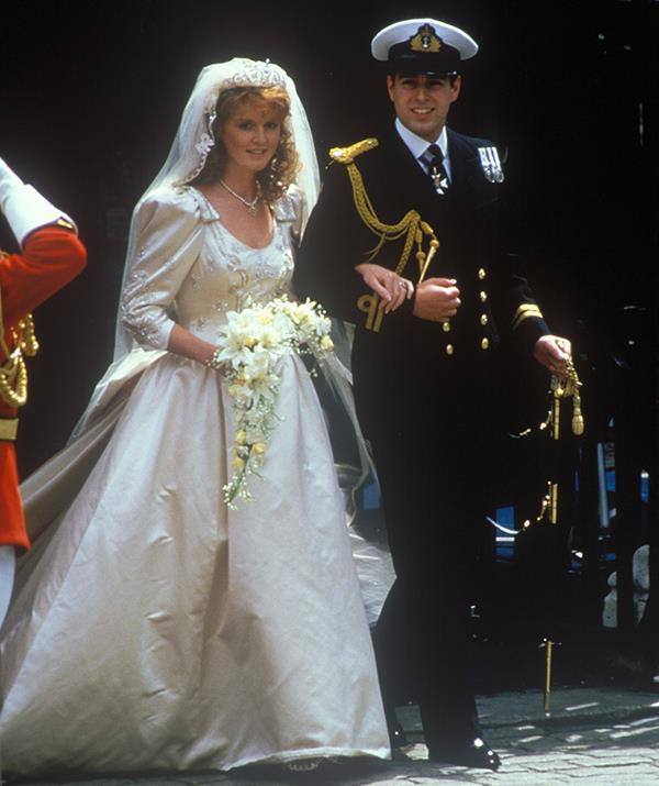 Eugenie's parents, Prince Andrew and Sarah Ferguson on their wedding day in 1986.
