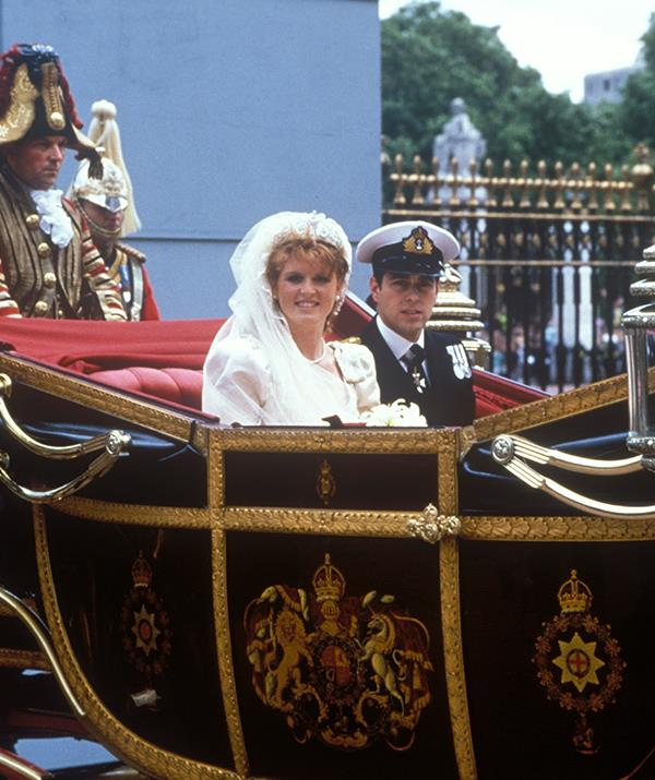 In true royal fashion, Sarah and Andrew departed the service via a horse-drawn carriage.