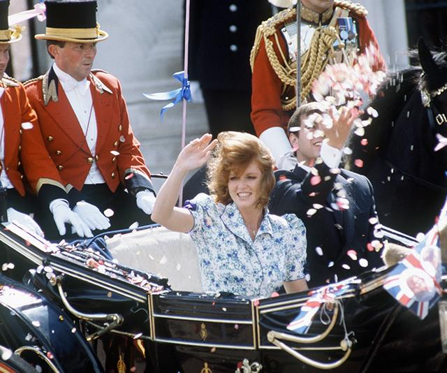 Later that day, Andrew and Sarah waved to the crowds as they left for their honeymoon in the Azores.