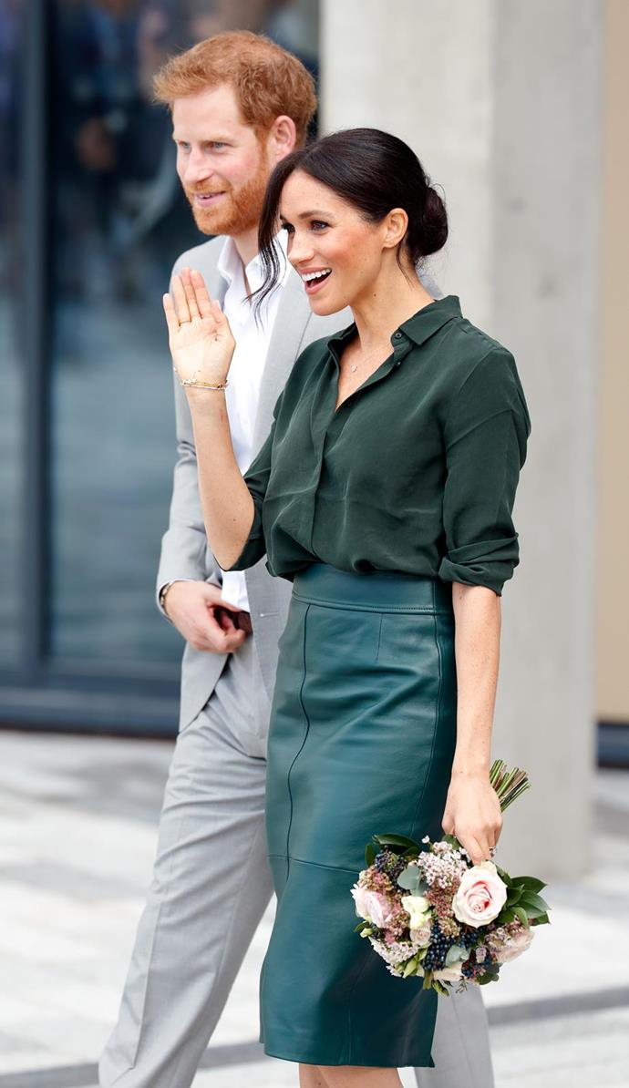 Meghan has been working on perfecting the Windsor wave.