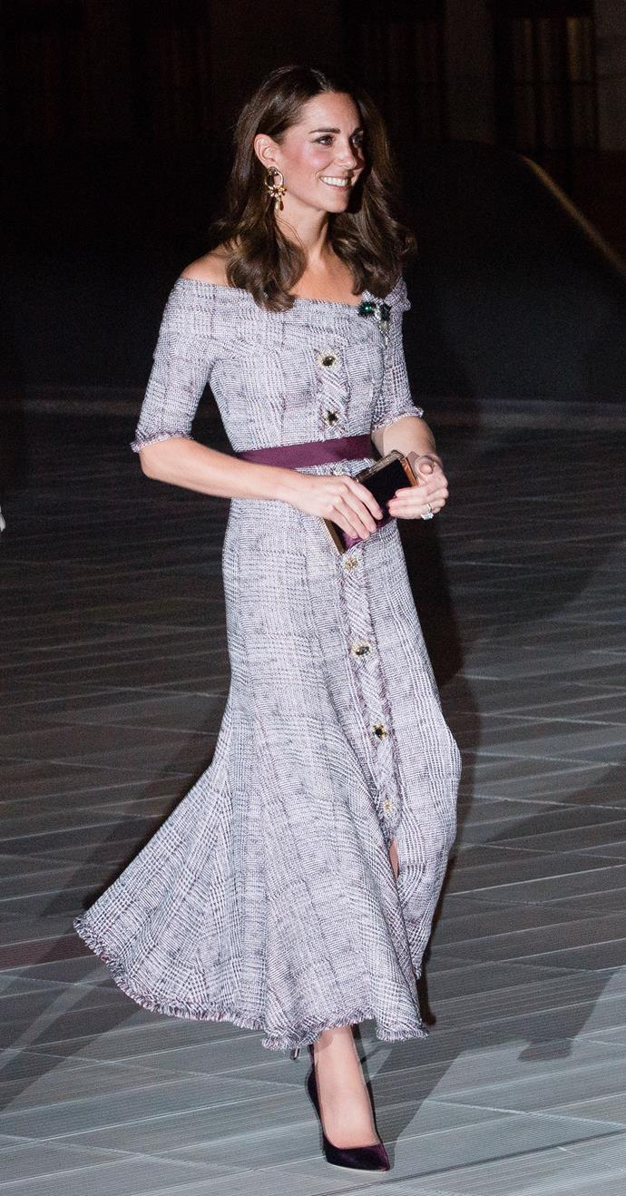 The Duchess of Cambridge looked radiant in an Erdem dress at the museum soiree.