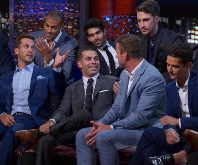 *The Bachelorette* contenders may look friendly but they're all vying against each other for Ali Oetjen's heart. *(Image: Getty Images.)*