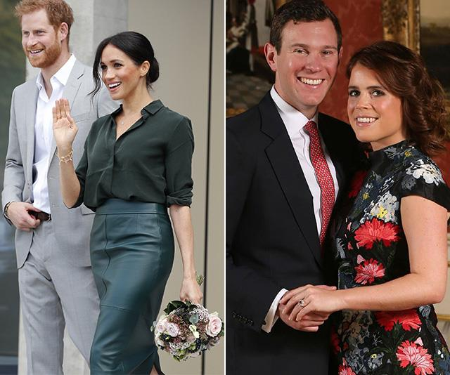Harry and Meghan may miss some of Princess Eugenie and Jack Brooksbank's wedding festivities.*(Images: Getty Images)*