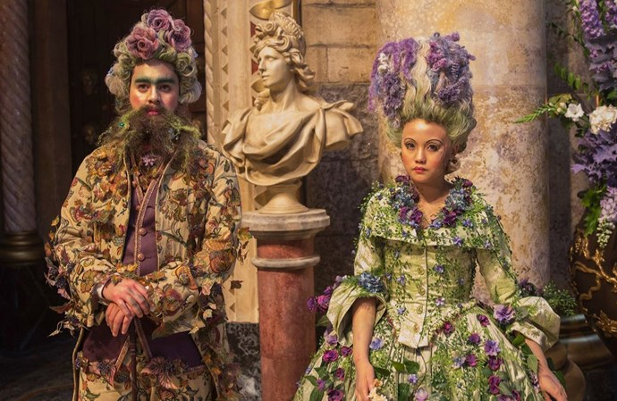 "Costume design included a 12-week prep time, with the movie's main cast [requiring around 150 costumes](http://www.latimes.com/entertainment/movies/la-ca-mn-sneaks-nutcracker-four-realms-costumes-20180830-story.html|target=""_blank""