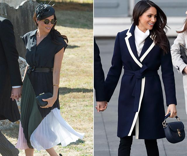 Meghan's Club Monaco dress (left) sold out within hours of her wearing it, while her navy blue J.Crew coat (right) caused the designer's website to crash as fans flocked to buy it!