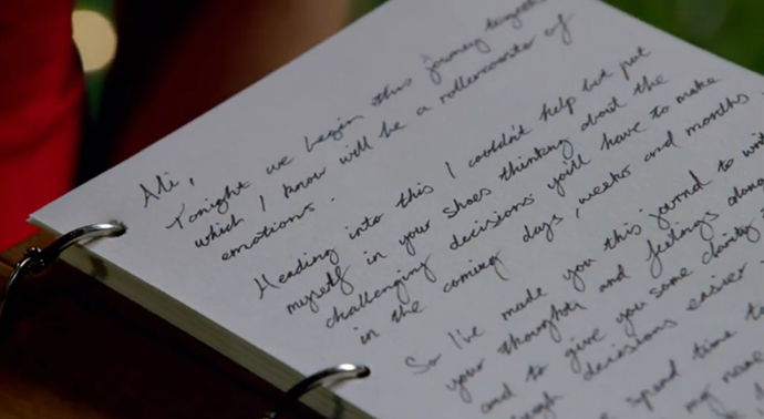 Charlie's journal entry in the diary he gave Ali