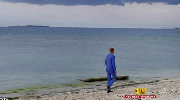 Jarrod Woodgate, alone on the sand during the previous season of *The Bachelorette*.  *All Images: Network Ten*