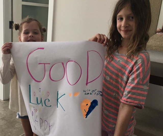 Sunday and Faith show their dad some super-cute support ahead of last year's American Country Music Awards. *Image/Instagram @keithurban*