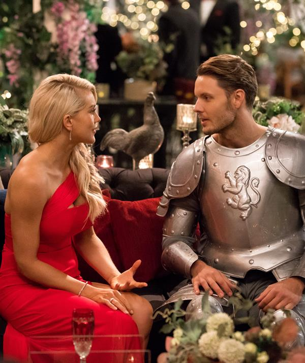 Ali was seemingly impressed by Todd's attempt to win her over with his (plastic) suit of armour.* (Image: Network 10)*