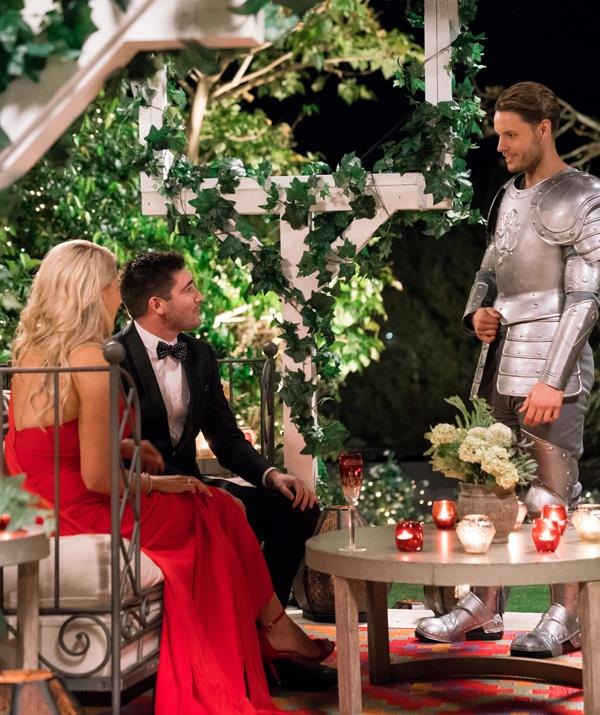 Todd appeared in a suit of armour while Dan tried his best to woo Ali and a nation of *Bachelorette* fans swooned. *(Image: Network 10)*
