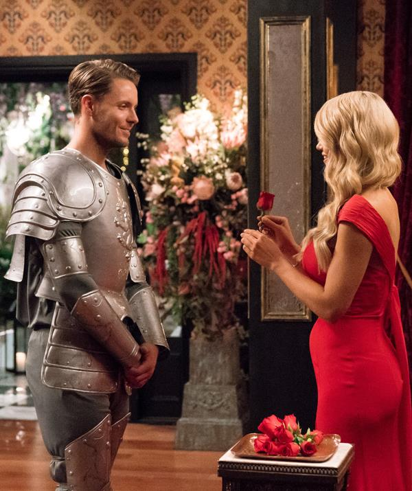 Ali gave Todd a rose which must have made all that squeaky, sweaty business in his plastic suit of armour worthwhile. *(Image: Network 10)*