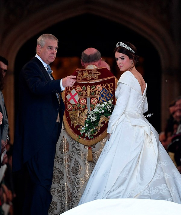 Eugenie wore a tiara from the Queen's personal collection.