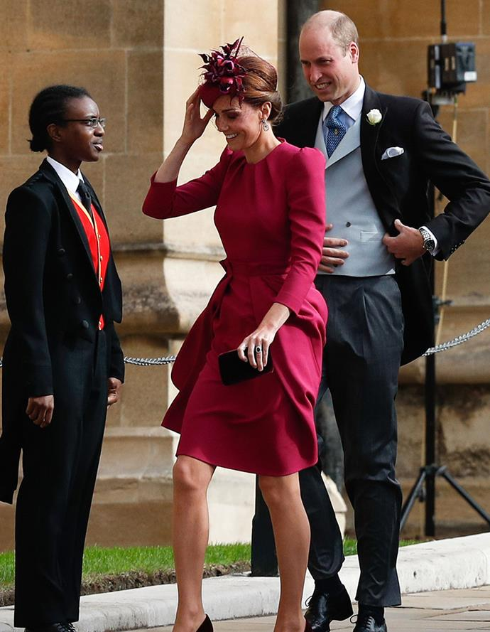 Duchess Catherine finished off her look with a Philip Treacy hat.