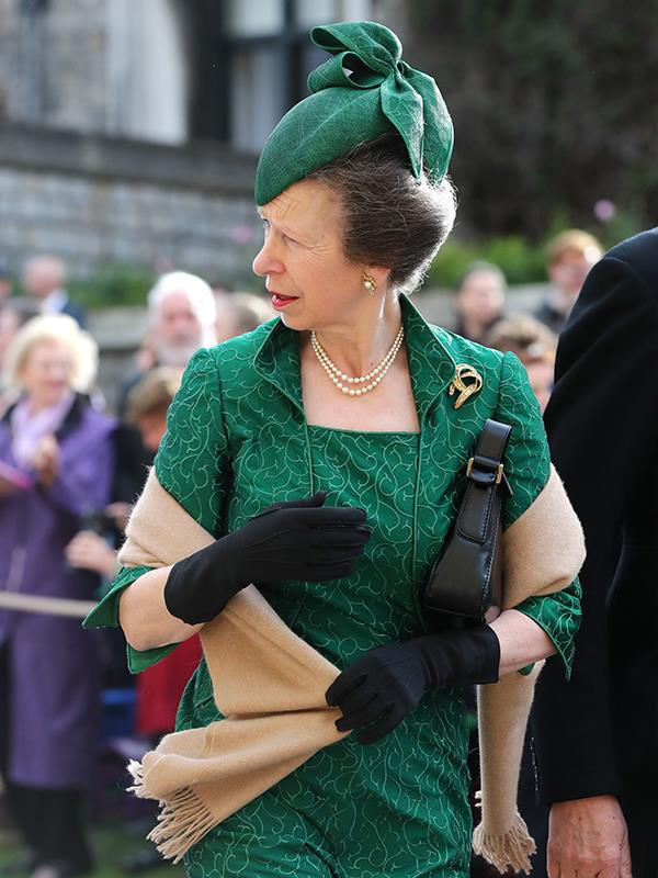 Princess Anne looked a vision in emerald green.