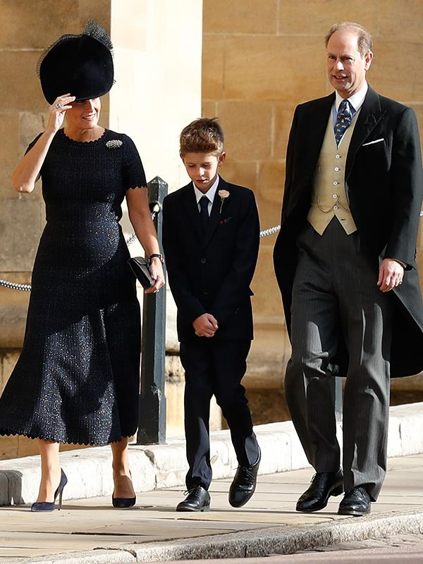 While Lady Louise was helping with the bridal party, Prince Edward, Countess Sophie and James Viscount Severn came separately.