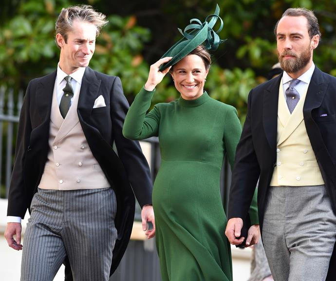 Pippa Middleton with husband James Matthews and brother James, on the way to the royal wedding.