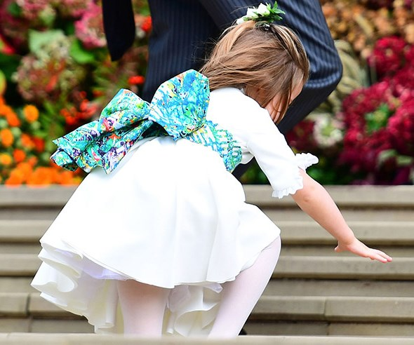 Princess Charlotte trips up the stairs to Windsor castle.