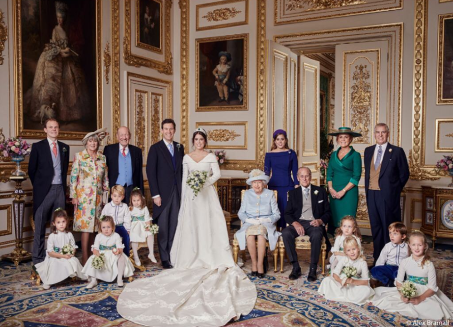 Fergie stood directly behind Prince Philip in the official wedding portrait. Image: Alex Bramal